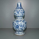 Ming 17th century blue and white double gourd vase