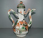 Qing 18th century famille verte large ewer with cover