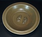 Song Yuan longquan golden celadon two fish dish