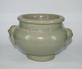 Rare Yuan dynasty longquan celadon large censer with animal ears