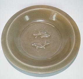 Song - Yuan dynasty longquan celadon large two fish dish 23 cm