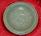 Rare Song dynasty Ge type celadon large two fish plate 28 cm