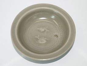 Rare Song Yuan dynasty longquan celadon two fish dish