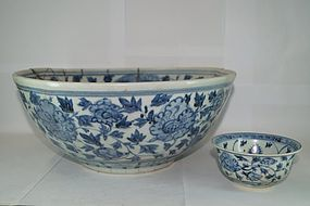 Early Ming blue and white massive serving bowl 35cm