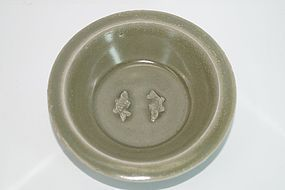 Song Yuan dynasty longquan celadon two fish plate