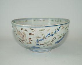 Rare late ming Wucai under glaze blue over glaze enamel fish bowl
