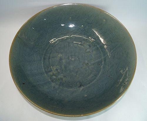 Rare late Ming blue glazed zhangzhou swatow deep plate fish motif