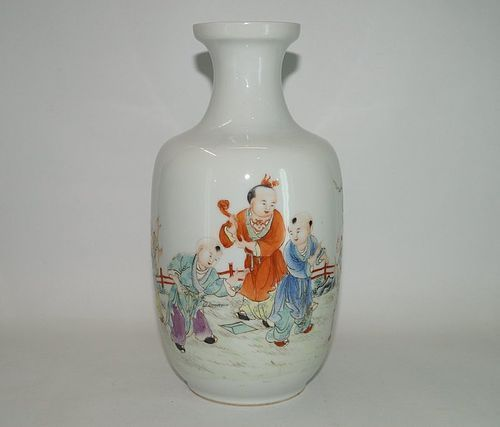 Rare Republican Hongxian vase with boys motif