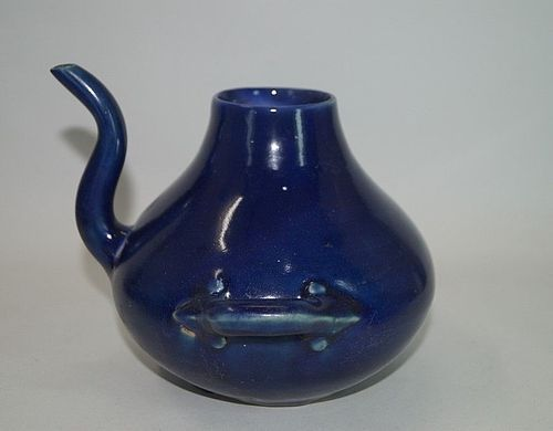 Rare late Ming dynasty Jiajing blue glazed Dragon handle ewer