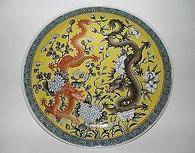 Qing dynasty Guangxu yellow ground dish dragon motif