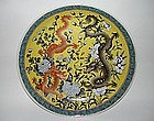 Qing dynasty Guangxu yellow ground dish dragon motif