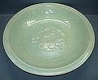 Yuan celadon dragon dish
