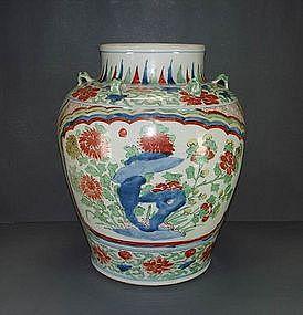 Qing Shunzhi - Kangxi wucai baluster jar