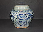 Yuan dynasty blue and white big jar