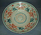 Late Ming Swatow large dish with polychrome enamel