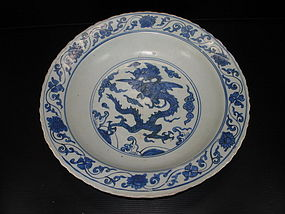 Ming Jiajing Wanli blue and white dragon dish