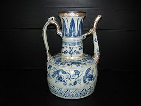 Rare early Ming 15th century blue and white large ewer
