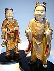 Pair of Polychromed Wooden Chinese Boys