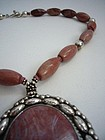 Rhodochrosite and Mexican Sterling Silver Necklace
