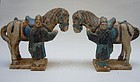 Pair of Ming Pottery Horses and Groomes
