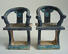Ming Dynasty Glazed Pottery Chairs