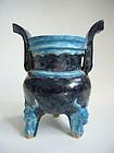 Ming Dynasty Glazed Pottery Censer