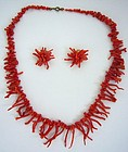 Mediterranean Red Coral Necklace and Earrings