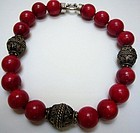 Bamboo Coral Necklace with Antique Indian Beads