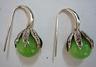 Sterling Silver Earrings with Green Calcite Beads
