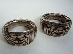 Pair of Oman Silver Niello Bracelets