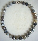 Grey Agate and Sterling Silver Necklace