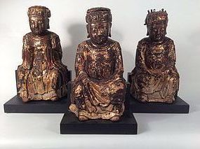 Group of Ming Dynasty Gilt Wood Daoist Figures