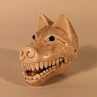 Japanese Ivory Wolf Head Netsuke with Moveable Jaw