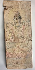 Tang Dynasty Panel with Painting of a Bodhisattva Nr. 2