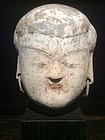 Han Dynasty Pottery Head with Bronze Earrings
