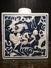 Chinese B&W Porcelain Tea Caddy