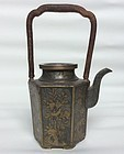 Chinese Qianlong Pewter and Brass Teapot