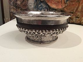 Tibetan Wood and Silver Cup
