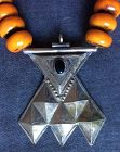 Berber Faux Amber Necklace with Tuareg Silver Pendant