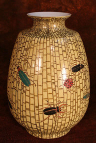 Delightful Kutani Porcelain Vase with Array of Insects