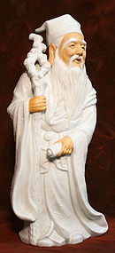 Very Large Kutani Porcelain God of Wisdom Sculpture