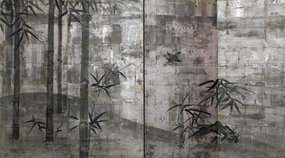 Silverized Four-Panel Japanese Bamboo Screen