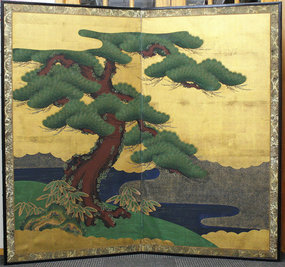 Edo Period Pine Tree and Landscape Gold Painted Screen