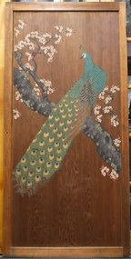 Large Meiji Period Door Painting of a Peacock, Sugido-e