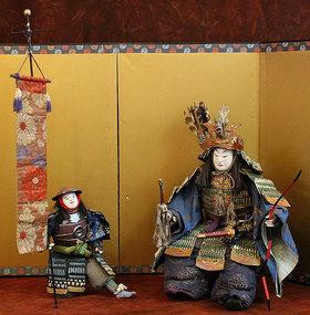 Rare and Intact Edo Period Pair of Samurai Ningyo