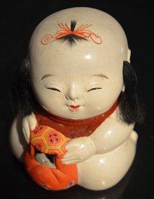Meiji Period Gosho Ningyo w/ Daruma and Crane Gift Box