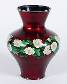 Meiji Period Pigeon Blood Red Cloisonne Vase by Ando