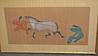Edo Pd. Kano School Painting of Two Men Pulling a Horse
