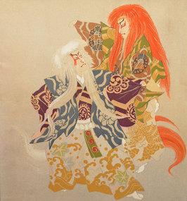 Painted Silk Fukusa Panel of the Kabuki Lion Dance