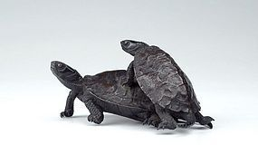 19th Century Bronze Sculpture of a Turtle Couple
